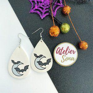 Moon and Bats Tear Drop Earrings